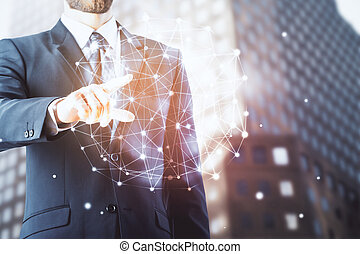 Connection concept - Businessman pointing at abstract...
