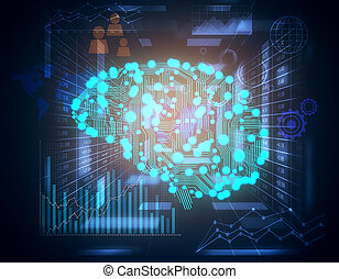 Cybernetic brain concept - Digital brain and blue business...