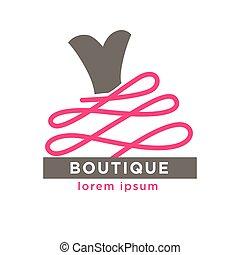 Woman dress boutique or fashion atelier salon vector icon...