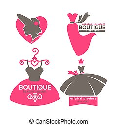 Dress boutique or fashion atelier salon vector icons templates set