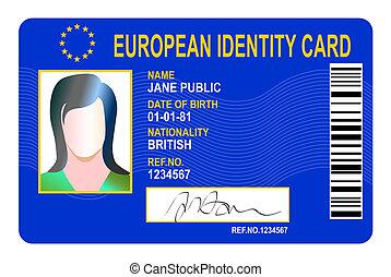 unión, identidad, tarjeta, europeo