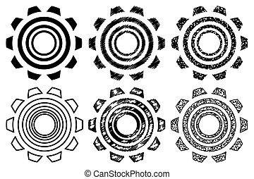 Icon gearwheel, Vector black gears icons set,