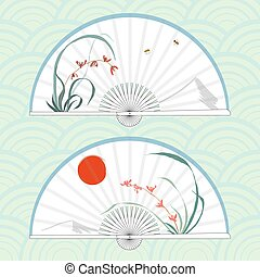Vector illustration of two Asian folding paper fans.