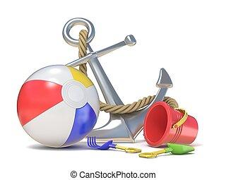 Steel anchor, beach ball and saving belt 3D