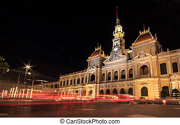 Night View of City Hall, Saigon, Ho Chi Minh City, Vietnam