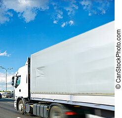 On way. - lorry truck, transport with motion blur