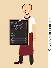 Bald chef with mustache holding menu blackboard with text