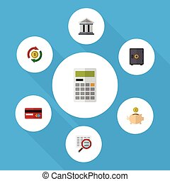 Flat Icon Gain Set Of Calculate, Bank, Interchange And Other...
