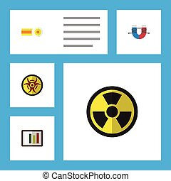 Flat Icon Study Set Of Diagram, Attractive Force,...