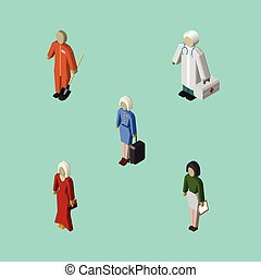 Isometric Human Set Of Hostess, Cleaner, Female And Other Vector Objects. Also Includes Cleaner, Builder, Laborer Elements.