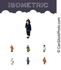 Isometric People Set Of Lady, Doctor, Cleaner And Other Vector Objects. Also Includes Lady, Medic, Hippie Elements.