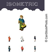 Isometric People Set Of Medic, Cleaner, Guy And Other Vector...