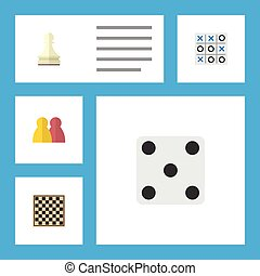 Flat Icon Play Set Of People, X&O, Chess Table And Other...