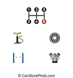 Flat Icon Service Set Of Carrying, Motor, Brake Disk And...