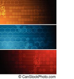 Dark tech banners - Set of bright technical banners with...