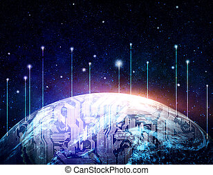 Global communications concept - Abstract digital globe in...