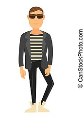 Man fashion model wearing style clothes vector flat isolated...