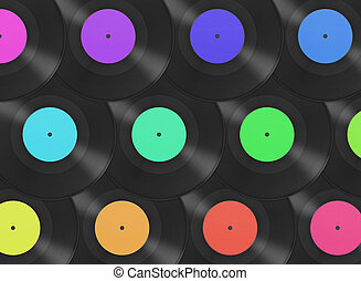 Gramophone disks background - Multicolored retro gramophone...