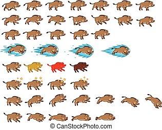 Warthog Game Sprite - Vector Illustration of Warthog Cartoon...