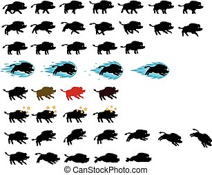 Warthog Silhouette Game Sprite - Vector Illustration of...