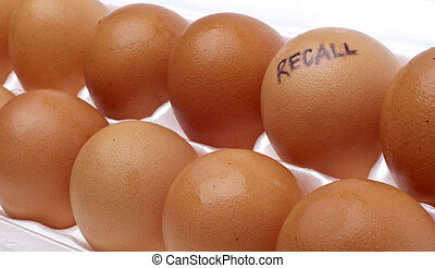 Egg Recall Concept Image with Brown Eggs in a White Carton