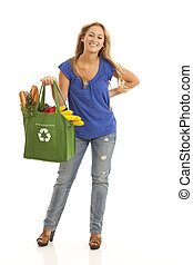 Young woman with healthy food - Young woman with green...