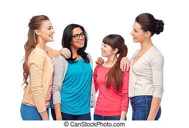 international group of happy smiling women talking