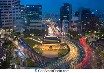 Seoul. - Image of Seoul downtown with Sungnyemun Gate during...