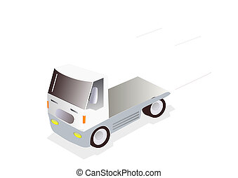 truck tractor - illustration of empty truck on white...