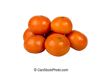 Group closeup of ripe tangerines on a white background....