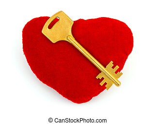 Heart and key isolated on white background