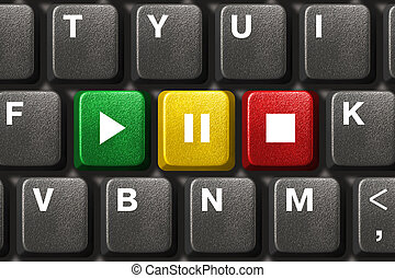 Computer keyboard with Play, Pause and Stop keys - music...