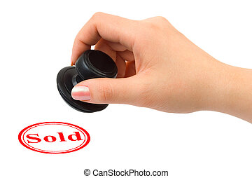 Hand and rubber stamp Sold isolated on white background