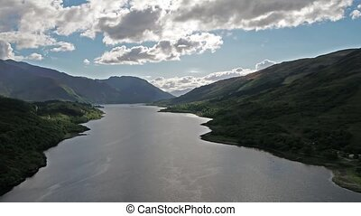 Flying over Loch Leven towards Caolasnacon, Lochaber -...