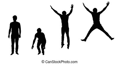 Set of vector silhouettes of jumping young man, isolated on white background
