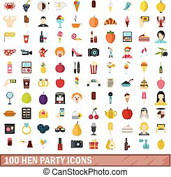 100 hen party icons set, flat style - 100 hen party icons...