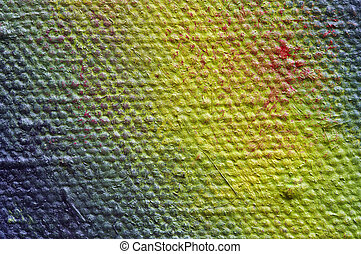 painted canvas - closeup - Extreme close-up of the painted...