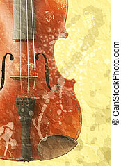 grunge music background with old fiddle - Image og the...