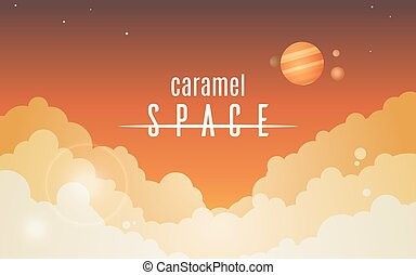 Cosmic sky with orange clouds, simple vector background...