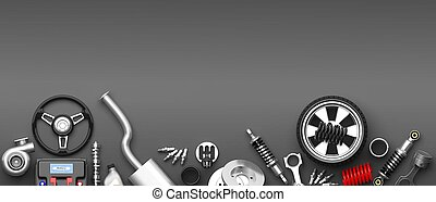 Various car parts and accessories on grey background. 3d...