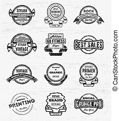 Vintage Grunge Logo & Badges Set