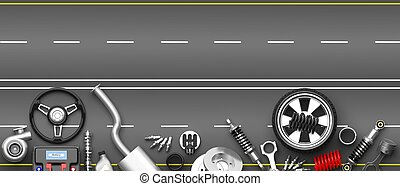 Various car parts and accessories on grey road background. 3d illustration