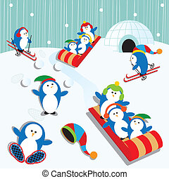 Penguin Fun - Cute Playful Penguin Village Snow Scene