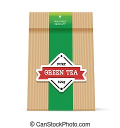 Green Tea vintage packaging vector