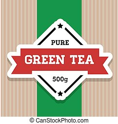 Green Tea vintage stamp label vector