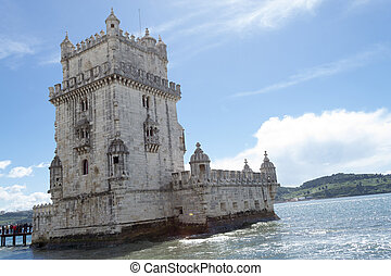 Belem tower in the bank of the Targus River (Belem,...