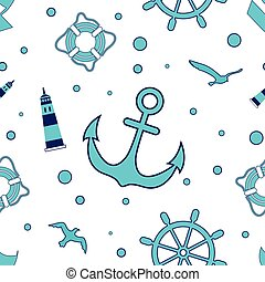 Seamless sea pattern with a lighthouse, sailboat, steering wheel, anchor, water bubbles, gulls.. Vector illustration.