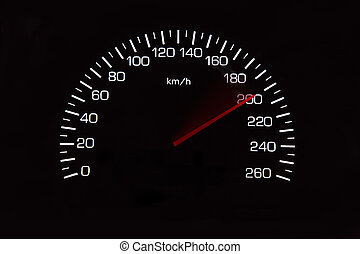 Odometer of car with black background - 200 Kilometers per...