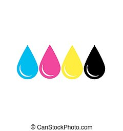 Ink drops in CMYK colors - cyan, magenta, yellow, key. Print design element theme. Simple flat vector illustration