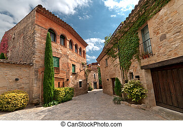 Sunny square , Peratallada, Spain - Small square in the...